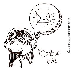 Contact us design over white background, vector illustration