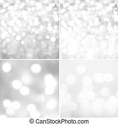 Set of Silver Abstract natural blur defocussed backgrounds...