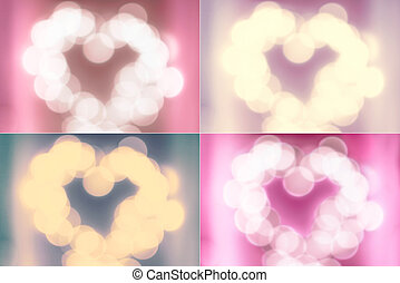 Set of Defocussed blur Valentines Day Backgrounds Abstract...