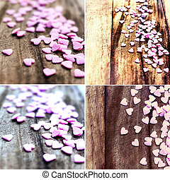 Set of Valentines Day backgrounds with hearts. Collection of...