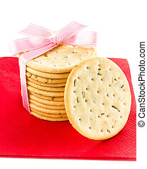 Festive Christmas shortbread  wrapped pastry cookies with red ri