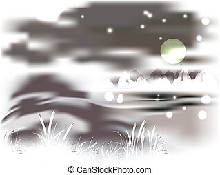 Mountains and lake on a moonlit night. EPS10 vector...