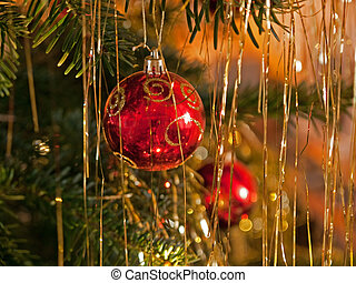 Christmas decoration balls on a tree