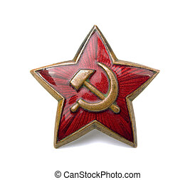 Red star - Old soviet star isolated on white background