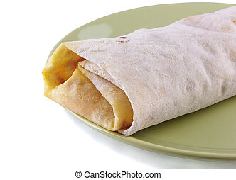 Shawarma on a green plate on a white background