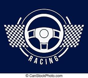 Racing design over blue background, vector illustration