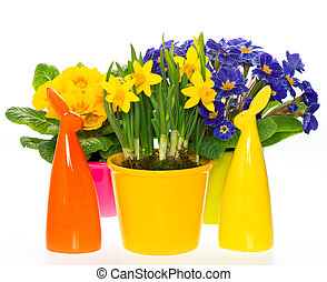 spring flowers with easter bunny  decoration