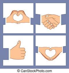 Hands gesture design over purple background, vector...