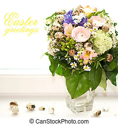 easter greetings spring flowers bouquet card concept