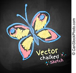 Chalked childlike drawing of butterfly. Vector illustration.