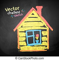 Chalked childlike drawing of house. Vector illustration.