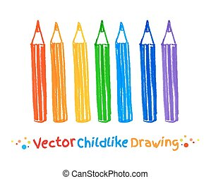 Childlike felt pen drawing of pencils Vector illustration...