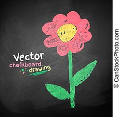 Chalked childlike drawing of flower. Vector illustration.