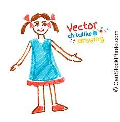 Childlike felt pen drawing of girl. Vector illustration....