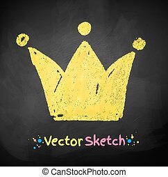 Chalked childlike drawing of crown. Vector illustration.