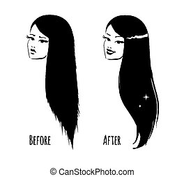 Hair before and after.