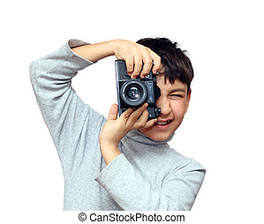 boy photographing vertical with black slr camera