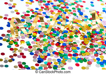 colorful confetti background with golden streamer on white...