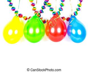 colorido, Globos, y, garlands., fiesta, decoración,