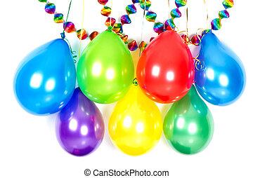 Globos, y, garlands., colorido, fiesta, decoración,
