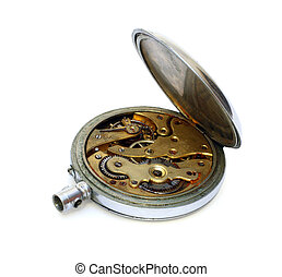 old pocket watch with open cover of gear isolated on white
