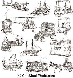 transporte, Paquete, -, Freehand, Orginal, dibujos,