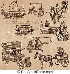 Transport pack - Hand drawn vectors, line art - Transport,...