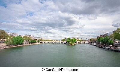 Banks of the river Siene with Île de la Cité timelapse,...