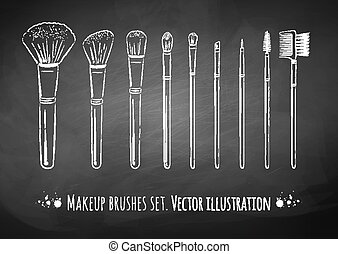 Makeup brushes kit. Chalked hand drawn vector set. isolated.