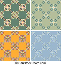 seamless abstract art pattern set - seamless colored...
