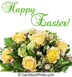 Easter flowers bouquet with eggs decoration