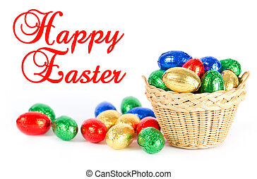 easter card concept. colorful chocolate eggs - easter card...