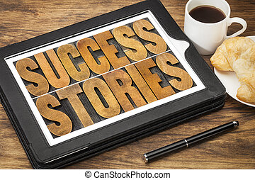 success stories on digital tablet - success stories...