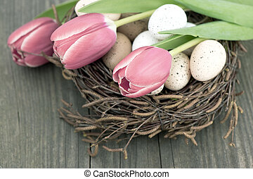 birds eggs in nest with tulip flowers on wooden background