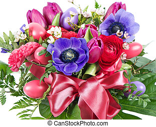 colorful easter flowers bouquet. pink tulips and eggs