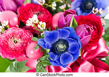 colorful easter flowers bouquet