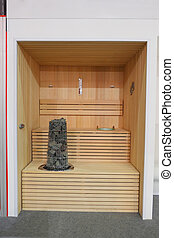 Finnish wooden sauna - Interior of small Finnish wooden...