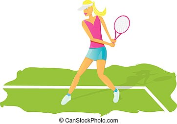 young glamour girl play tennis. vector illustration. cartoon...