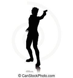 man with agun - Vector Image - man with a gun pointing...