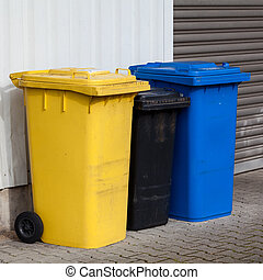 Recycle Bins Three plastic bins