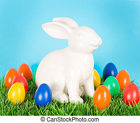 Easter bunny with colorful eggs. Decoration