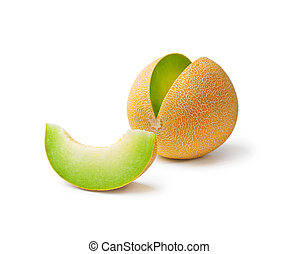 Melon honeydew and a slice - Ripe fresh melon honeydew and a...