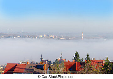 town in the fog