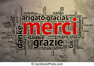 French Merci, Open Word Cloud, Thanks, Grunge Background -...