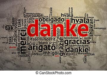 German Danke, Open Word Cloud, Thanks, Grunge Background -...