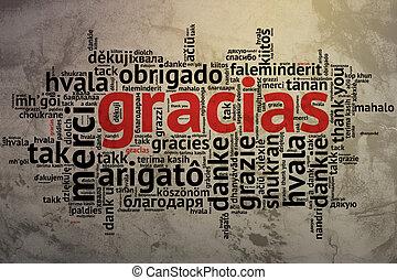 Spanish Gracias, Open Word Cloud, Thanks, Grunge Background...