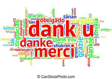 Dutch: Dank u, Open Word Cloud, Thanks, on white - Focus on...
