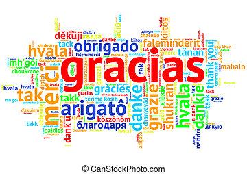 Spanish Gracias, Open Word Cloud, Thanks, on white - Focus...