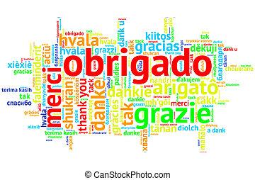 ポルトガル語, 単語,  obrigado, 白, 雲, 開いた