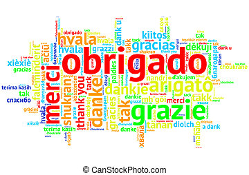 Portuguese Obrigado, Open Word Cloud, on white - Focus on...